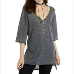 We the free size large gray light sheer top.